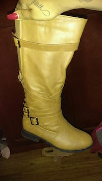 pair of brown leather knee-high boots Stockton
