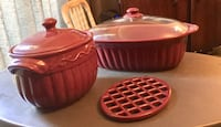 Two burgundy China cookware