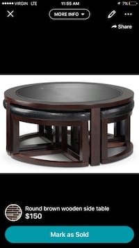 round brown glass top wooden side table screenshot