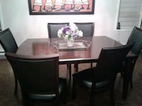 rectangular brown wooden table with six chairs dining set Dorval