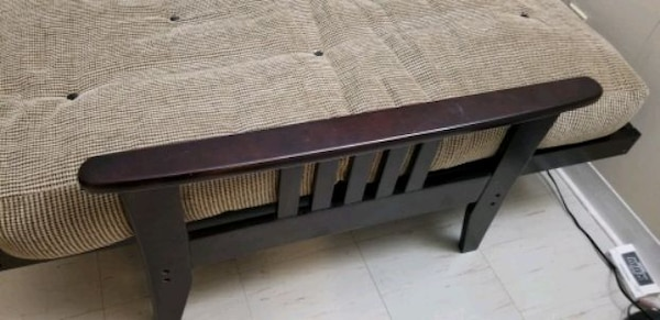 Used Futon Couch Covertable To Queen Bed With Mattress On