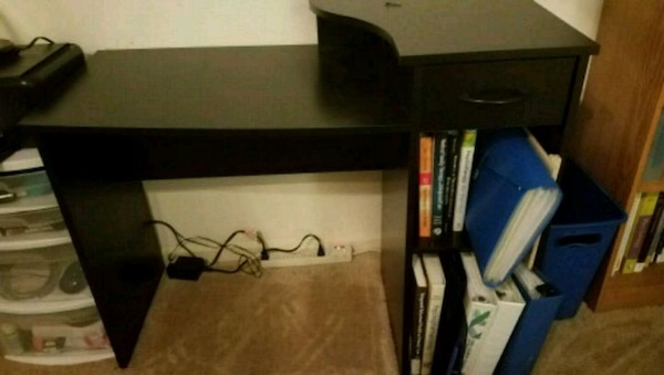 Black Student Desk With Drawer And Bookshelf