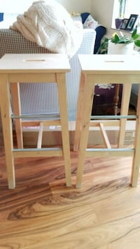 two IKEA wooden bar stools Toronto, M6S 3N6