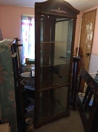 brown wooden framed glass display cabinet King George, 22485