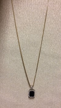 28in Gold plated necklace *Black gem*