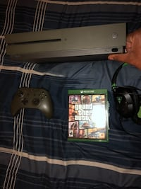 Black xbox one console with controller and game cases Plainfield, 07060