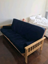 brown wooden bed frame with blue mattress Bethesda, 20814