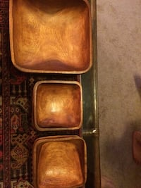 4 small 1 large wooden bowls for sale!