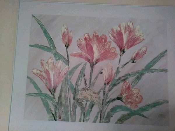 pink petaled flowers painting
