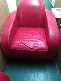 2 red like new leather chairs!