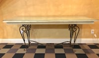 rectangular white and brown wooden table null