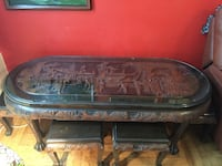 Asian Wood & Glass Table with mini Chairs New York, 11375