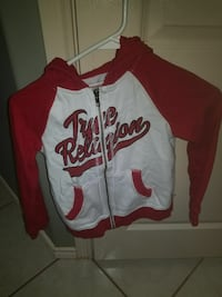 white and red True Religion zip-up hoodie