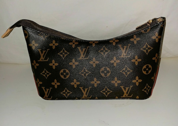 black and brown monogram Louis Vuitton leather bag