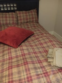 Full size comforter + sheets, bedskirt, shams with pillows