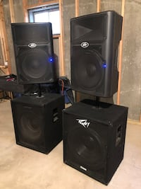 4 ACTIVE Peavey two PVXP15 And two ACTIVE Pv118Ds with a Yamaha12chmxr
