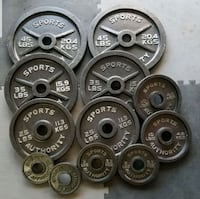 "2"" Olympic weight plates pairs of 45x35x25x10x5x2. North Las Vegas, 89031"