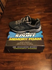 gray skechers athletic shoes