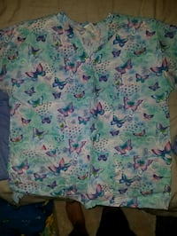 white, green, and pink floral scrub shirt Covina, 91722