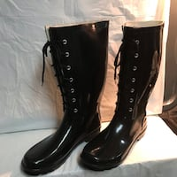 Women's Black Lace up Rain Boots Alexandria, 22309