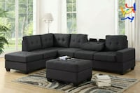 *Heights Charcoal Gray Reversible Sectional Houston