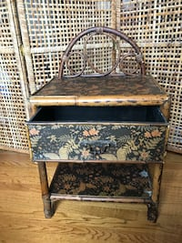 Rattan and Floral side table