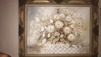 brown wooden framed painting of white flowers Turlock, 95380