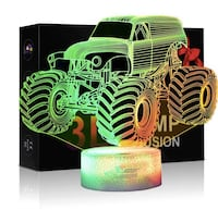 Brand New in Box Monster Truck LED Lamp 3D Visual Illusion 7 Colors Touch Switch Nightlight, for Home Office Children Room Theme Decoration and Kiddie Kids Children Family Hayward, 94544