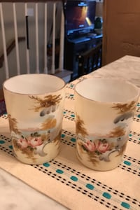 Victorian hand painted glassware