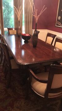 Rare Solid Crotch Mahogany Dining table double pedestal  96x44. Table only small amount of damage to base. Must sell moving Northville, 48168