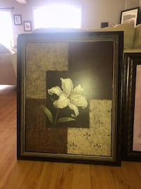 White petaled flower painting with black wooden frame Hamilton, L8S
