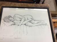 """Framed paint """" person in bed"""" 25x 20 great condition . Baltimore, 21205"""