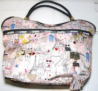 white and multicolored floral tote bag Calgary