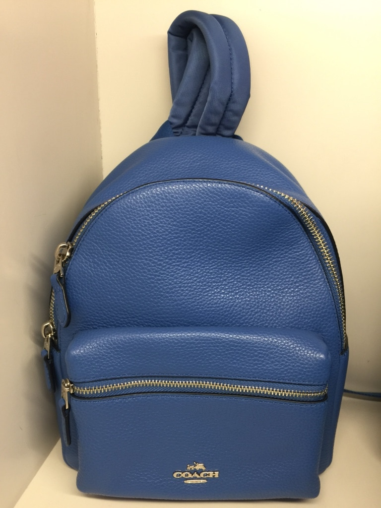 women's blue leather Coach backpack