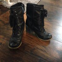 pair of black leather lace-up boots Lucan Biddulph, N0M 2J0