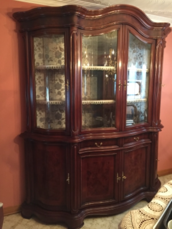 Beautiful wooden hutch with gold hinges