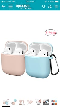 Compatible AirPods Case Cover Silicone Protective Skin for Apple Airpod Case 2&1 (2 Pack) Sand Pink/Blue 休斯顿, 77054