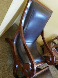 leather and wood chair with ottoman Mission Viejo, 92691