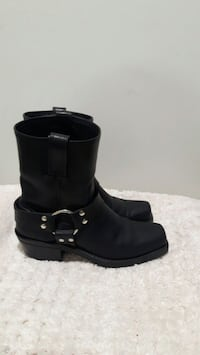 Men's black leather Harness boots
