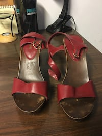 pair of red leather open toe ankle strap heels Randallstown, 21133