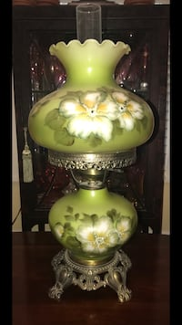 Green Authentic Antique Hand Painted Gone with the Wind Hurricane Lamp Fairfax, 22033