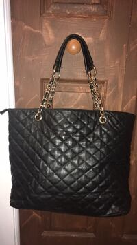 black leather quilted tote bag Terrebonne, J6W