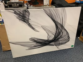 New Black & White Abstract Painting Print