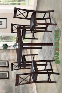 New Espresso Wood 5 PC Dining Room Table Set 1 Table 4 Chairs