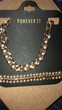 Gold necklace with pearl & matching bracelet , 11421