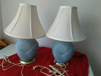 two white ceramic base with white lampshade table lamps Toronto, M1E 2S2