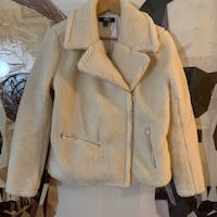 Hera Collection teddy bear Sherpa zipped collared jacket in cream LG