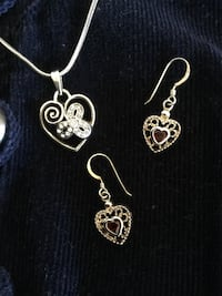 Pair of sterling silver garnet gemstone heart earrings with Heart necklace / Love Silver Jewelry *   Alexandria, 22311