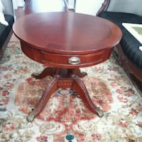 Mahogany Round Claw Foot Table With a Draw
