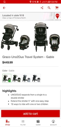 GRACO UNO2DUO TRAVEL SYSTEM (STROLLER & CARSEAT) Rancho Cucamonga, 91739